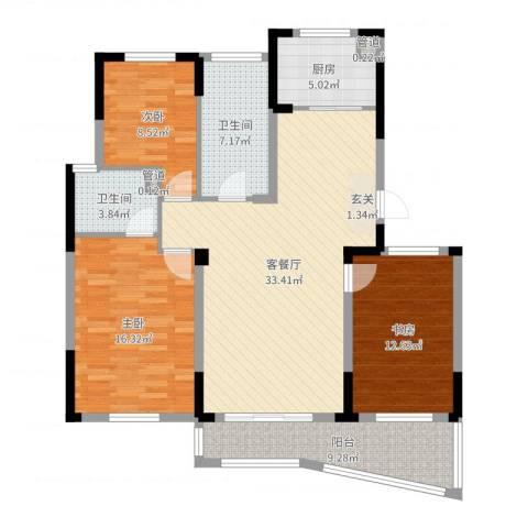 百草苑3室2厅2卫1厨121.00㎡户型图