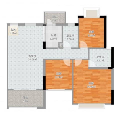 南城鸿福花园3室2厅2卫1厨105.00㎡户型图