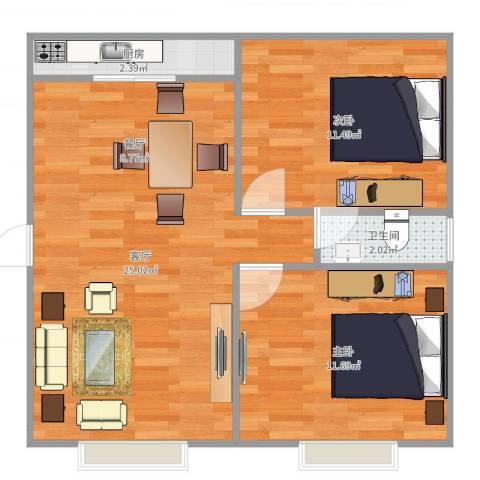 龙泉花园2室1厅1卫1厨66.00㎡户型图