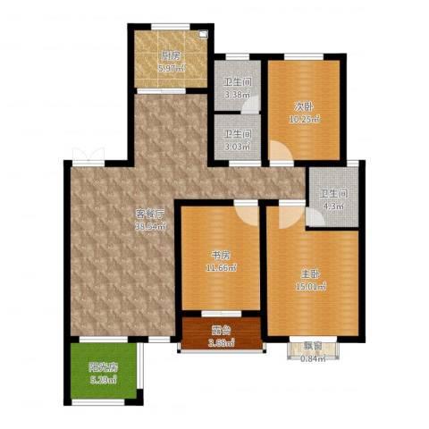 明大-凯旋城3室2厅3卫1厨127.00㎡户型图