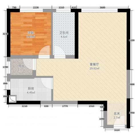西安・恒大御景1室2厅1卫1厨74.00㎡户型图