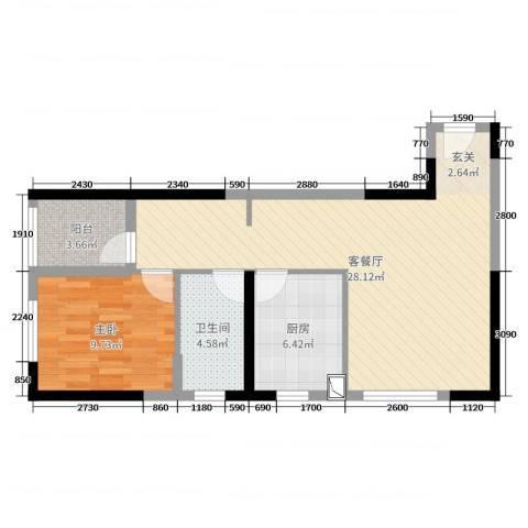 西安・恒大御景1室2厅1卫1厨80.00㎡户型图
