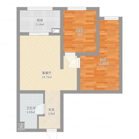 高新大都荟2室2厅1卫1厨61.00㎡户型图