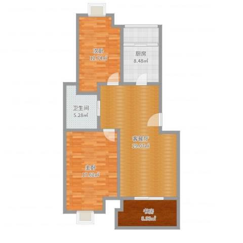 天润城十四街区3室2厅1卫1厨100.00㎡户型图
