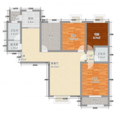 鼎盛国际3室2厅2卫1厨140.00㎡户型图