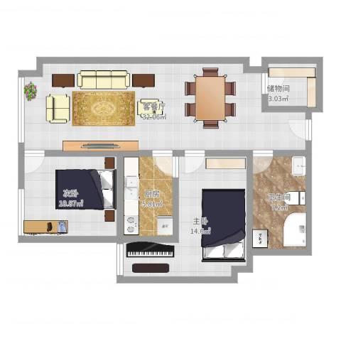 金座威尼谷2室2厅1卫1厨106.00㎡户型图
