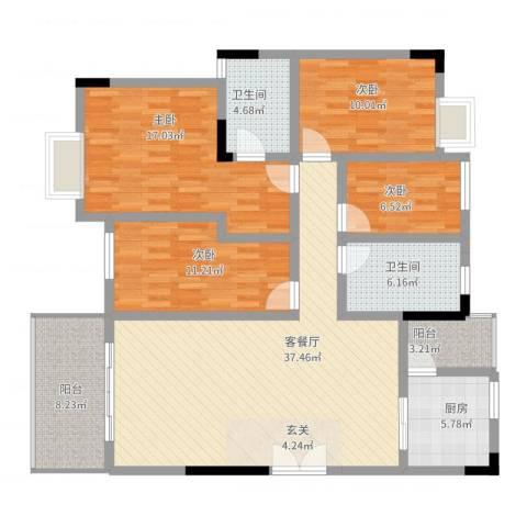 万科城市风景4室2厅2卫1厨159.00㎡户型图