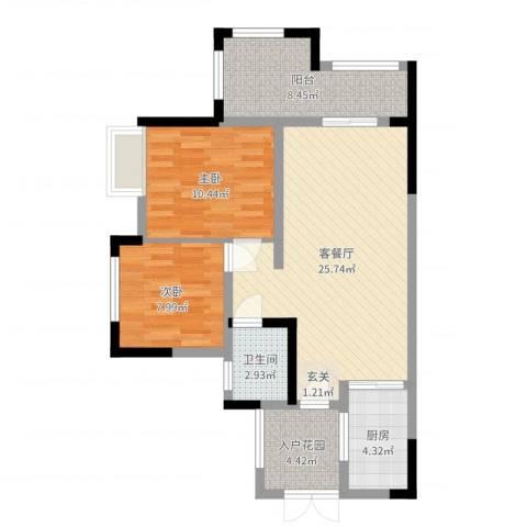 九鼎・御江山2室2厅1卫1厨80.00㎡户型图
