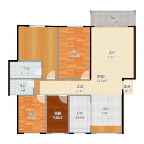 绿地华庭3室2厅2卫1厨138.00㎡户型图