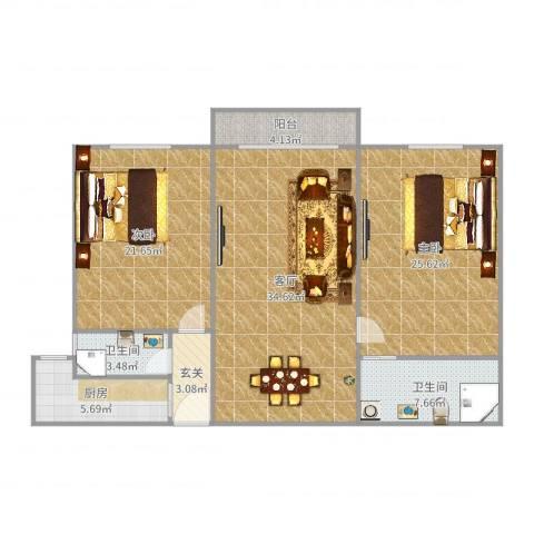 中信广场B幢2室1厅2卫1厨132.00㎡户型图