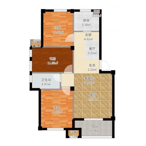 天一名都3室2厅1卫1厨112.00㎡户型图