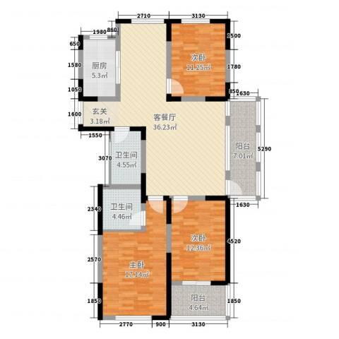信远朗庭3室2厅2卫1厨102.94㎡户型图