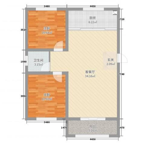 三秀公馆2室2厅1卫1厨89.00㎡户型图