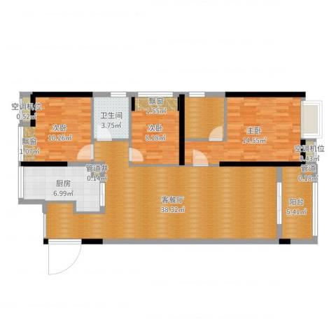 东莞厚街万达广场3室2厅4卫2厨116.00㎡户型图