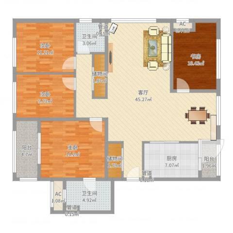 阳光花城别墅4室1厅2卫1厨148.00㎡户型图