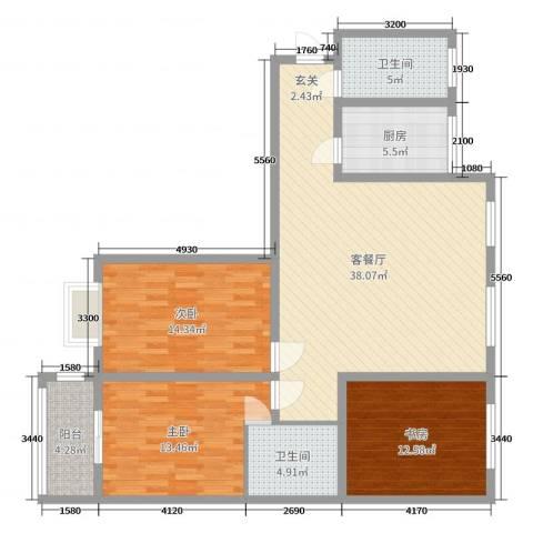 上都名苑3室2厅2卫1厨132.00㎡户型图