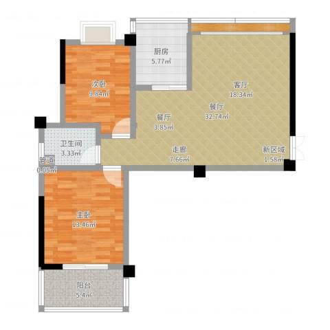世纪桃花苑2室1厅2卫1厨90.00㎡户型图