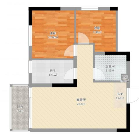 文华园2室2厅1卫1厨67.00㎡户型图