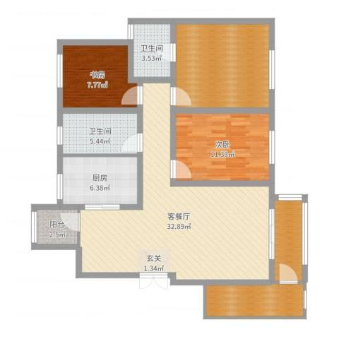 美域澜苑2室2厅2卫1厨117.00㎡户型图