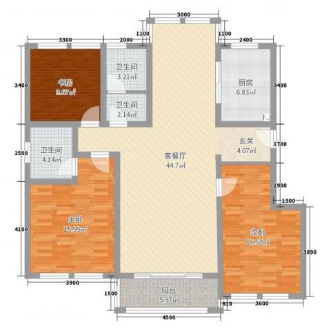 日月兴城3室2厅3卫1厨143.00㎡户型图