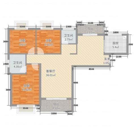 星光银河湾3室2厅2卫1厨115.00㎡户型图