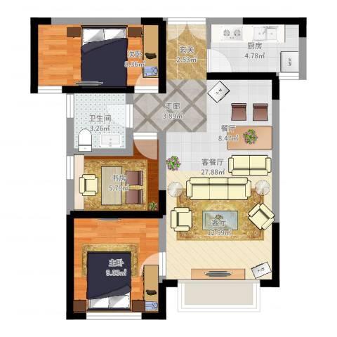 嘉逸岭湾3室2厅1卫1厨74.00㎡户型图