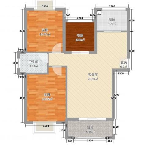 星光银河湾3室2厅1卫1厨105.00㎡户型图