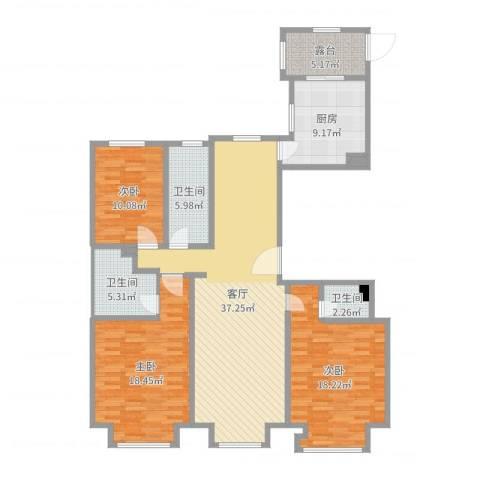 书香苑3室1厅3卫1厨156.00㎡户型图