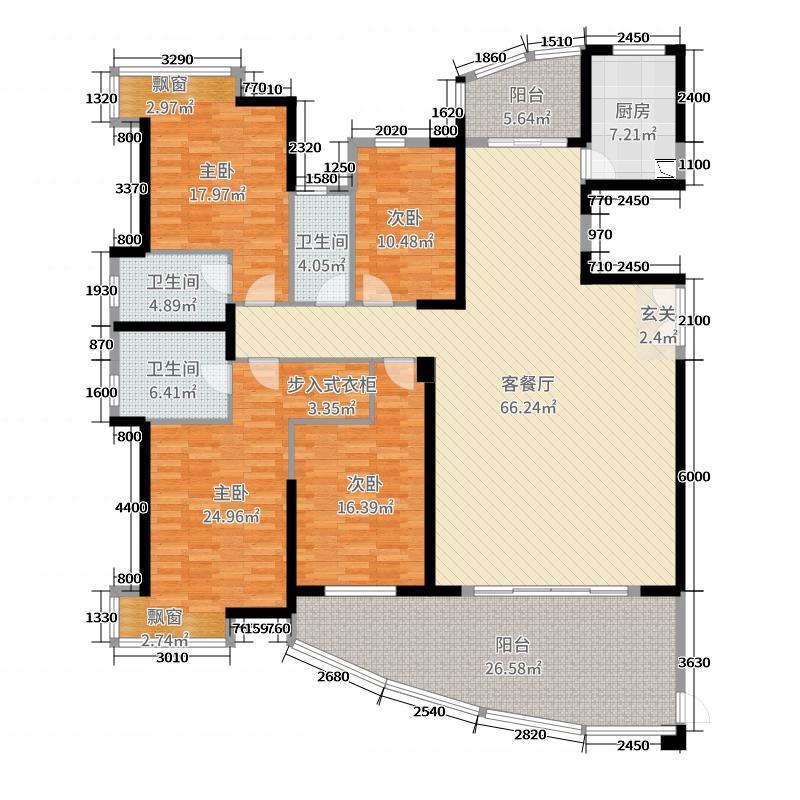 裕港豪庭386.00㎡三期5栋复式单位户型4室4厅3卫1厨