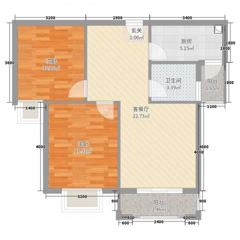 星光银河湾2室2厅1卫1厨84.00㎡户型图