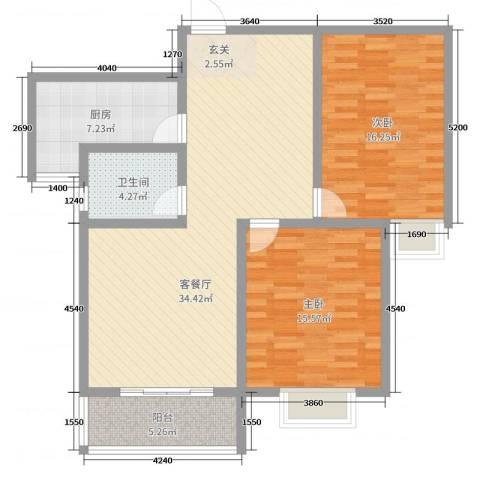 金如意花园二期2室2厅1卫1厨104.00㎡户型图