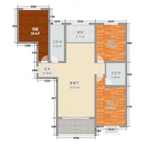 金如意花园二期3室2厅2卫1厨142.00㎡户型图