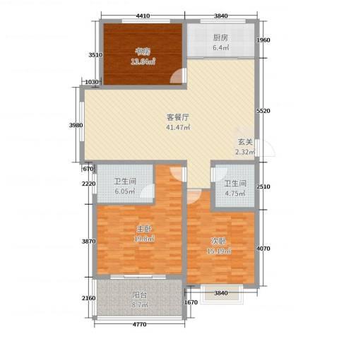 金如意花园二期3室2厅2卫1厨146.00㎡户型图
