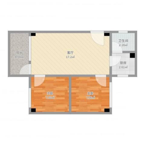 新鸿花园2室1厅1卫1厨50.00㎡户型图