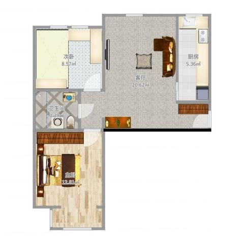 北京海航国兴城2室1厅1卫1厨63.00㎡户型图