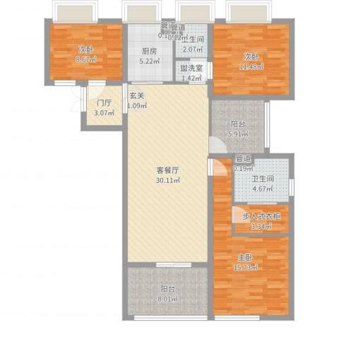 莱蒙时代3室4厅2卫1厨125.00㎡户型图