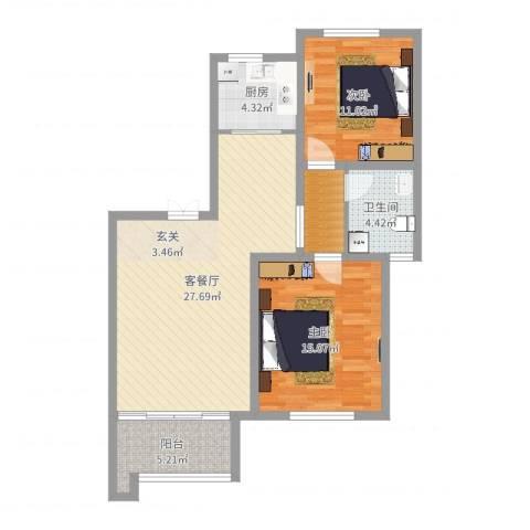 即墨东凯伴山蓝庭2室2厅1卫1厨88.00㎡户型图