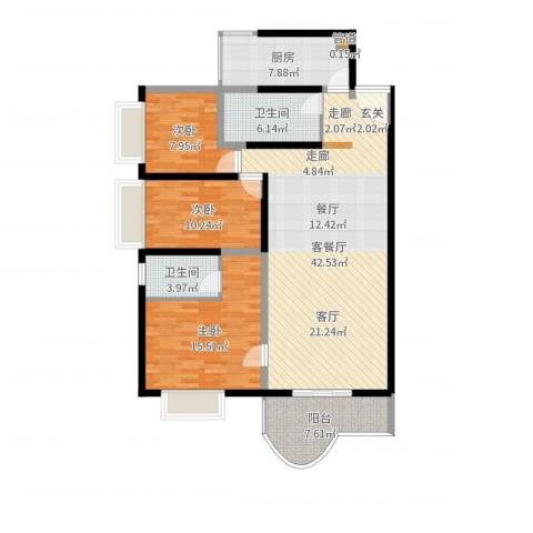 海珠信步闲庭3室2厅2卫1厨127.00㎡户型图