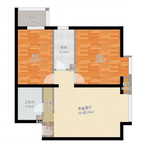 北京上舍2室2厅1卫1厨91.00㎡户型图