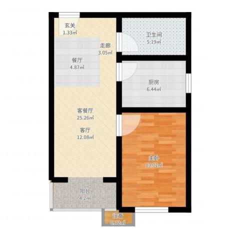 七里香格庄园1室2厅1卫1厨63.00㎡户型图