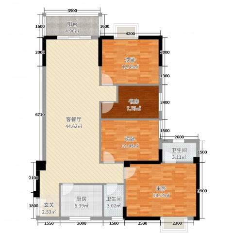 翰林轩4室2厅2卫1厨148.00㎡户型图