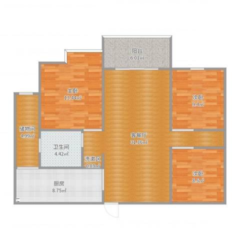 望江水岸3室2厅1卫1厨109.00㎡户型图