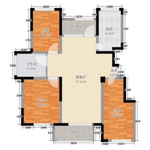 温莎玫瑰公馆3室2厅1卫1厨126.00㎡户型图
