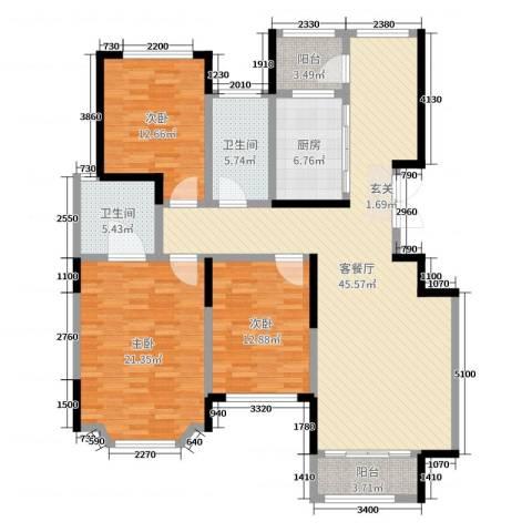 温莎玫瑰公馆3室2厅2卫1厨147.00㎡户型图
