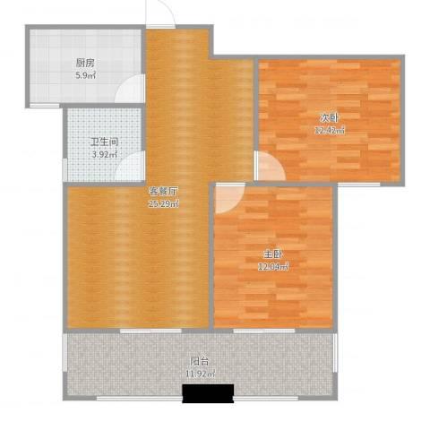 桃苑红杉郡2室2厅1卫1厨89.00㎡户型图