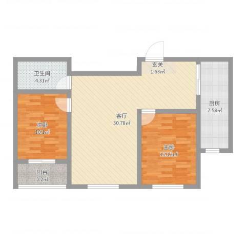 永和公馆2室1厅1卫1厨85.00㎡户型图