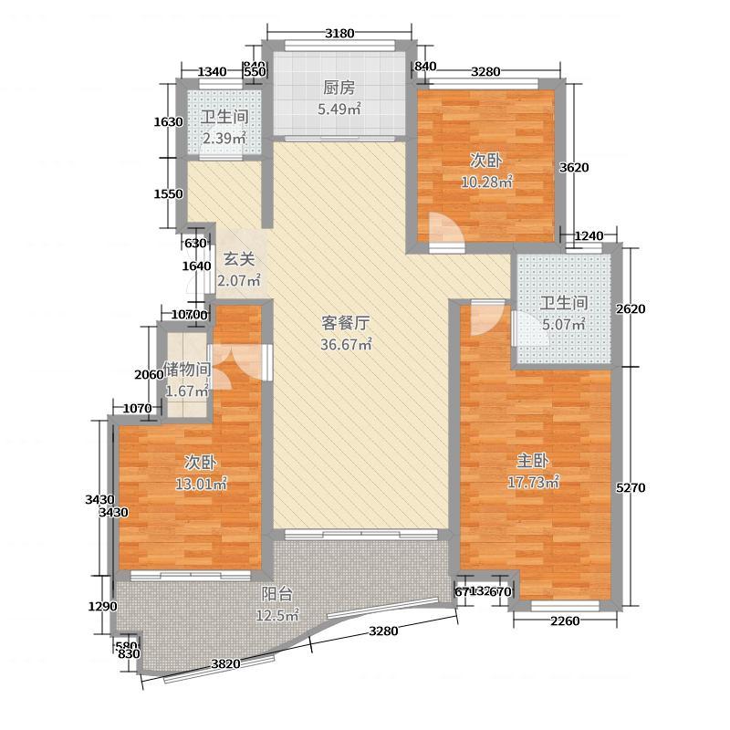 金汇国际131.00㎡4、6、13、19、20号楼E2-a户型3室3厅2卫1厨