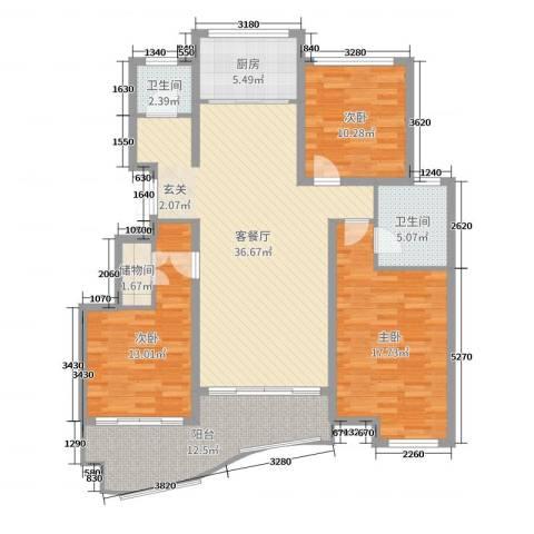 金汇国际3室2厅2卫1厨131.00㎡户型图