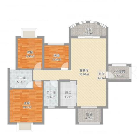 中央商务区CBD(南区)3室2厅2卫1厨115.00㎡户型图
