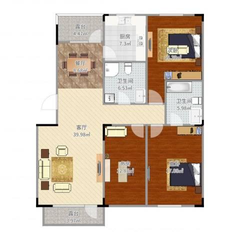 保利林语3室1厅2卫1厨135.00㎡户型图